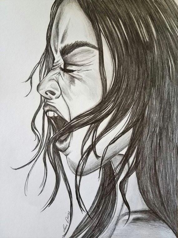 Drawing Of Girl Screaming Screaming Dark Art Drawing Dark Art Dark Drawing Emotional