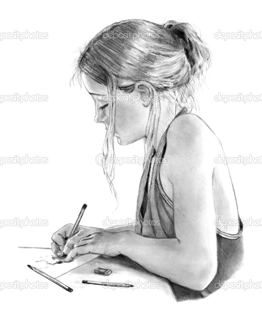 girl drawings pencil drawing of girl writing drawing stock photo a c joyce