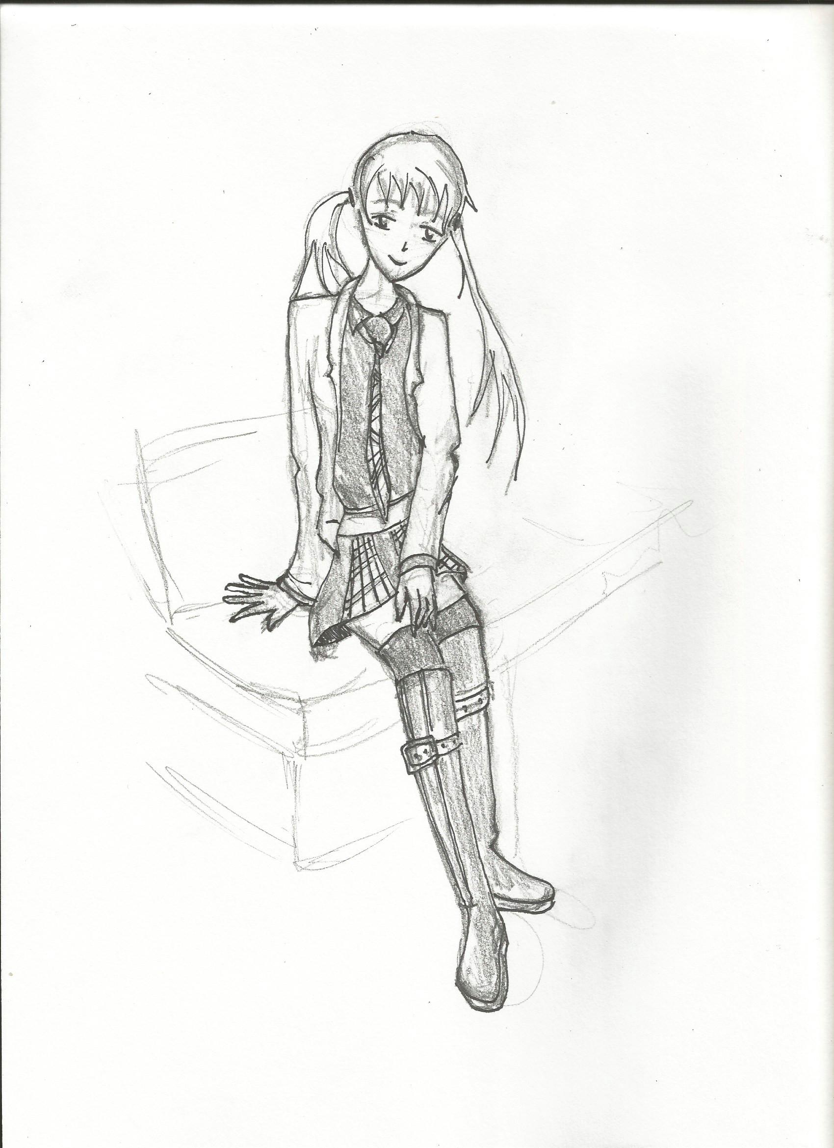 manga girl sitting pencil and paper manga girl girls drawings daughters