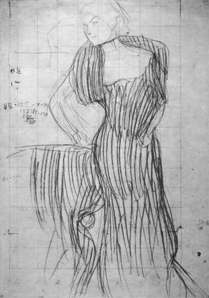 gustav klimt standing lady leaning on a chair study for the portrait of rose von rosthorn friedmann 1900