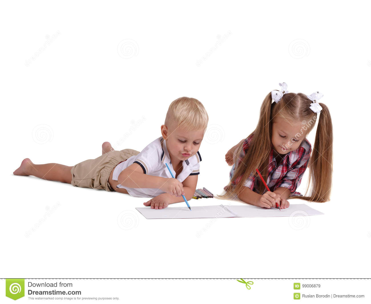little girl and boy drawing with pencils isolated on a white background young siblings getting ready to school concept