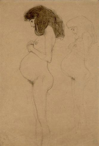 drawings 1 akt einer schwangeren im profil wiederholung der figur studie fur hoffung i 1902