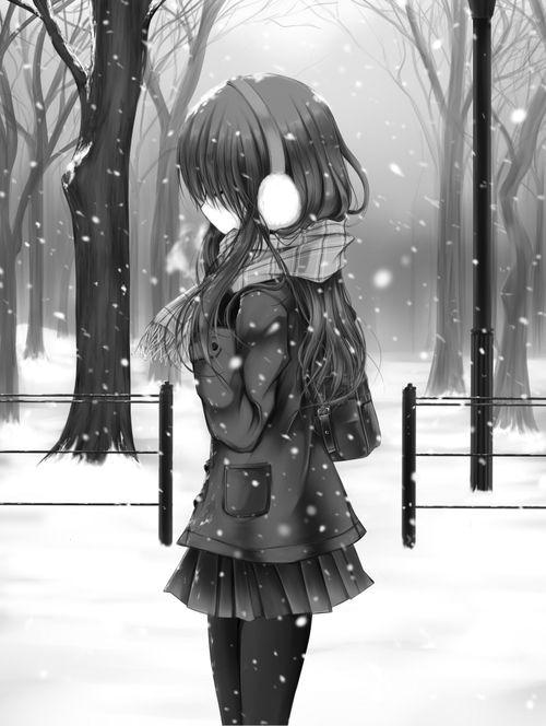 anime girl walking away alone