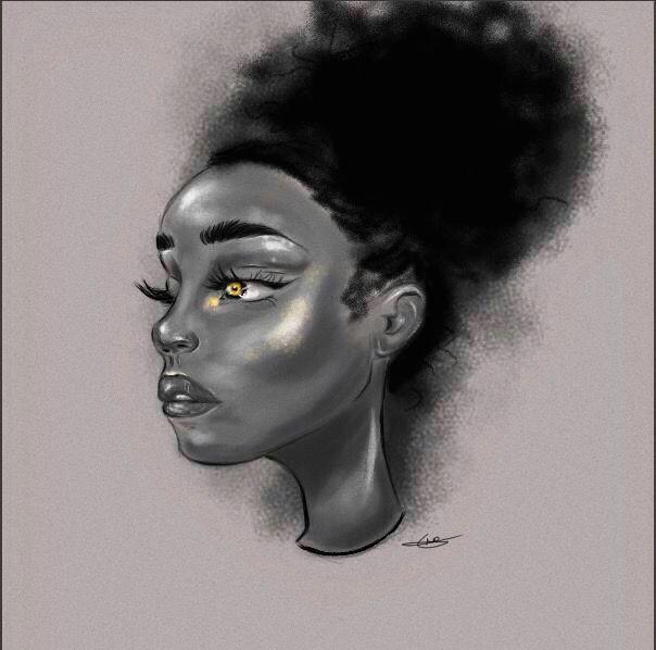 afro puff d drawing digitalart blackgirl afro black girl art black
