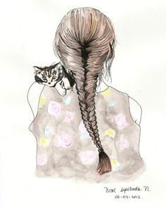 drawing cat fishtail braid tumblr i hate cats but the hair is cool pencil drawings