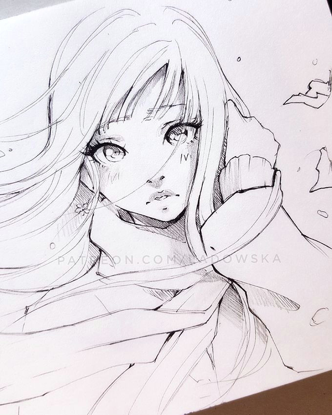 girl pencil drawing manga girl drawing drawing hair anime drawings sketches art