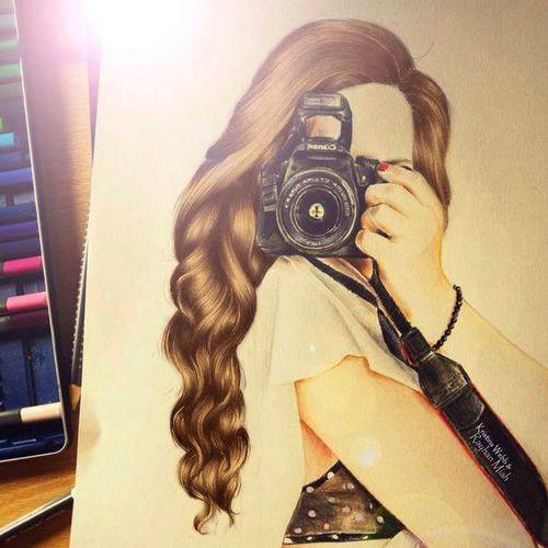 girl camera and drawing image