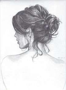 drawing of a girl with a messy bun it s always hard for me to draw hair with all of the contrasts of shading and texture