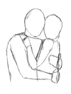 how to draw people hugging frontal face to face