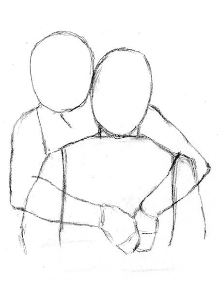 Drawing Of Hands Behind Back How to Draw People Hugging From Behind the Back Draw Drawings