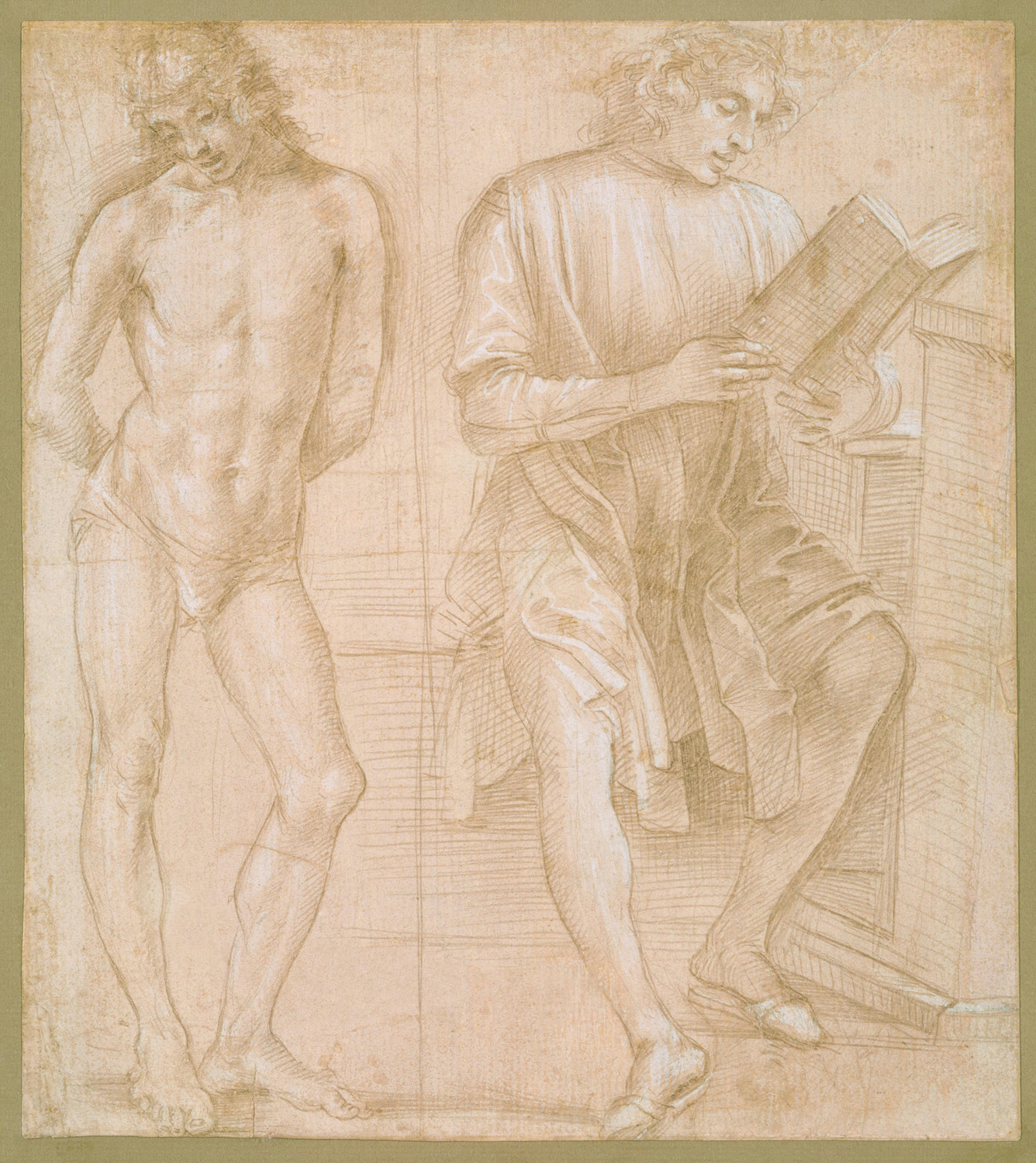 standing youth with hands behind his back and a seated youth reading recto