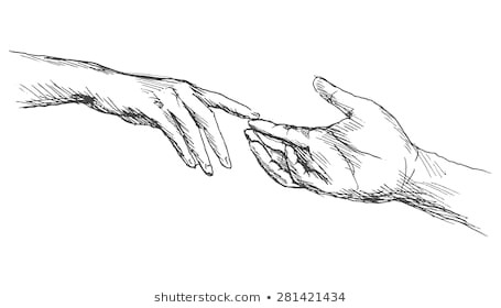 sketch touching hands