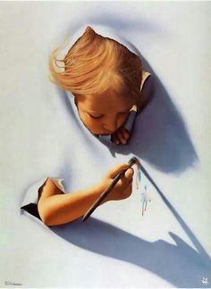 artist jim warren surreal paintings for his ongoing series titled ripping portrays children and disembodied adult hands ripping through the canvas into a