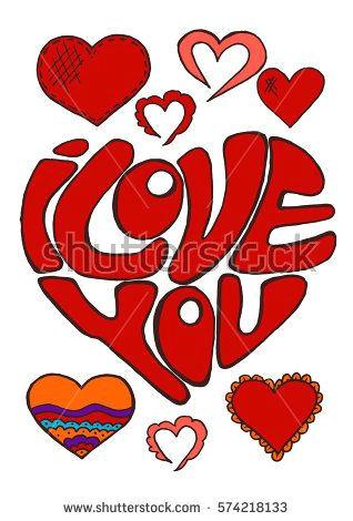 sketch stickers pins doodle elements heart hand drawing love feelings st valentine s day lettering i love you bubushonok art bubushonokart