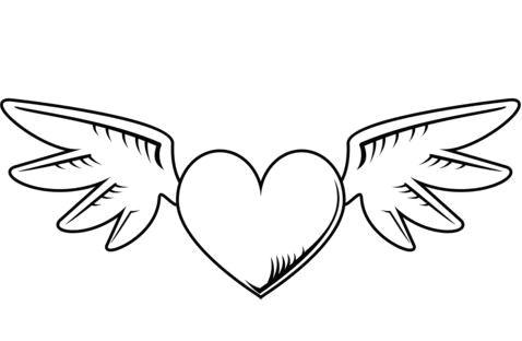 dibujos de corazones con alas colour board graphic art coloring heart with wings