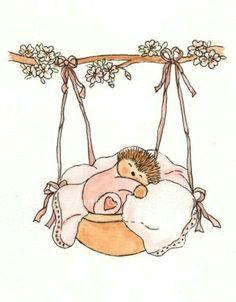 items similar to childrens art hedgehog watercolour painting print 5 x 7 rock a bye baby girl pink cute sweet newborn baby girl sleeping bedtime on etsy