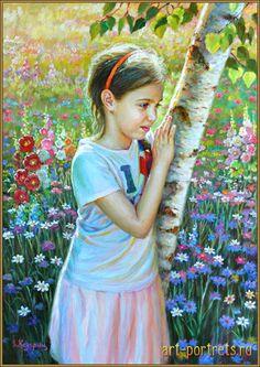 painting little girl near birch 2017
