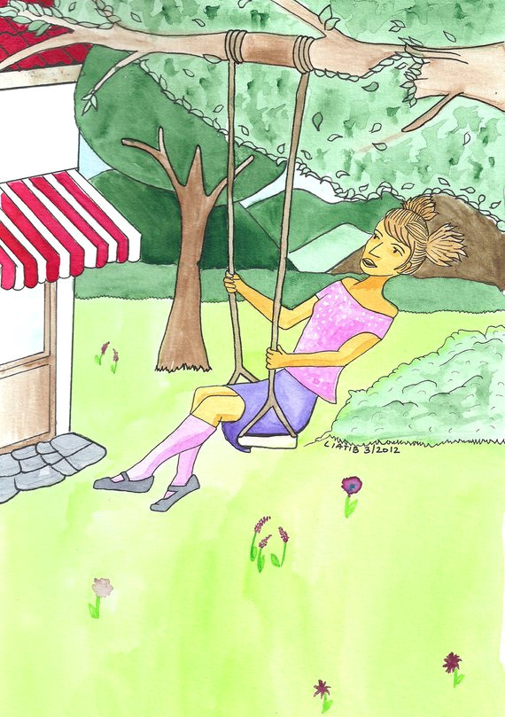 swinging girl drawing water color illustration print on a5 paper great bat mitzvah gift for young