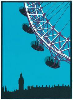 london eye paul catherall london drawing london illustration art prints lino prints