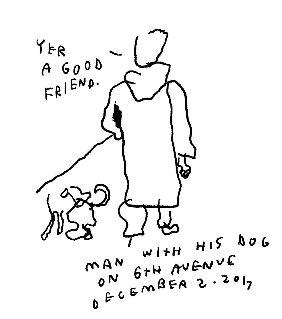 man walking his dog on 6th avenue december 2 2017