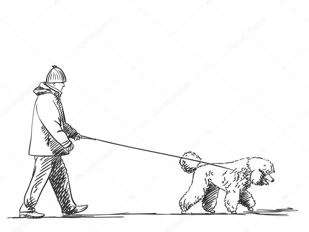 szkic man walking psa na smycz wektor stockowy