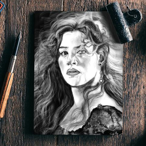 kate winslet rose titanic notebook artist draw on demand