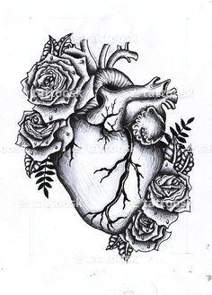 heart and flowers human heart tattoo human heart drawing rose heart tattoo heart