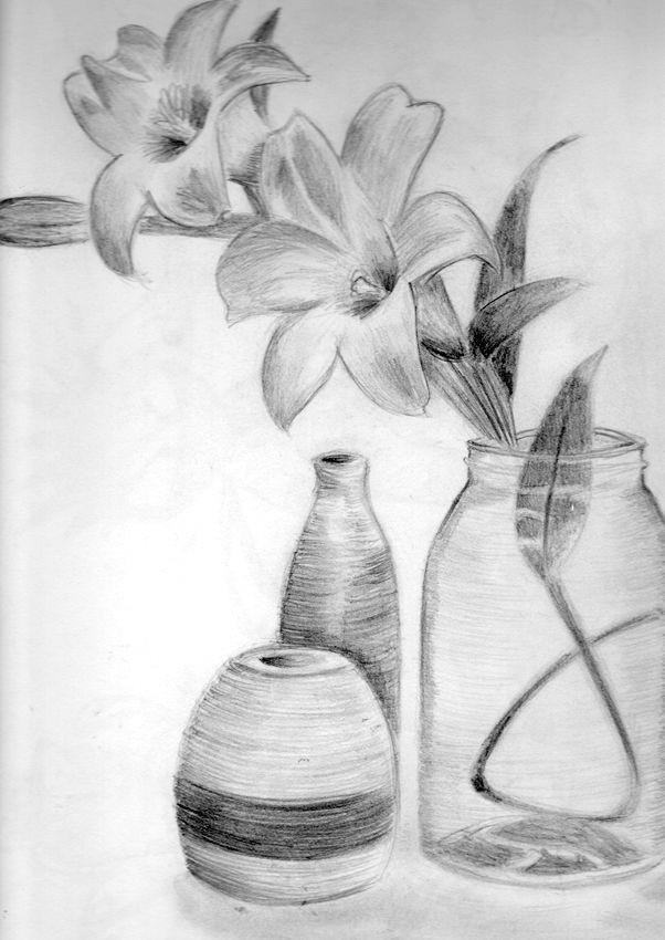 pencil drawings of flowers pencil shading pencil art art drawings flower vases