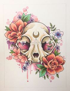 cat skull painting tattoo print tattoo design cat illustration alternative decor gothic art watercolour skull painting