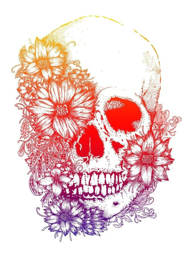 rainbow flowers skull tattoo design skull tattoo color