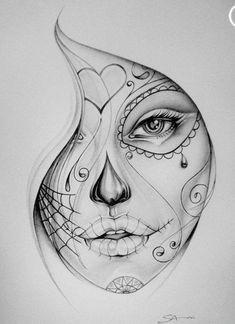 drawing idea more tattooideas sugar skull girl tattoo sugar skull drawings skull face