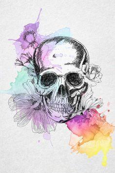 watercolour flower illustration tattoo designs skull painting flower art cute tattoos
