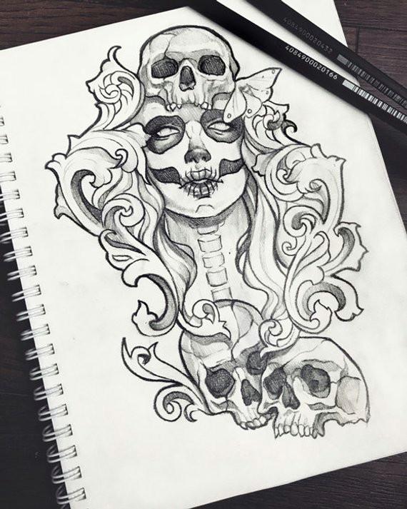 muertos skull tattoo design ravens grunge roses boho fantasy gothic occult sketch original art a5 1