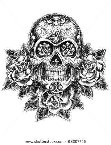 Drawing Of Skulls and Roses Skull and Roses Sketch Vector Tattoo Ideas Pinterest Sugar