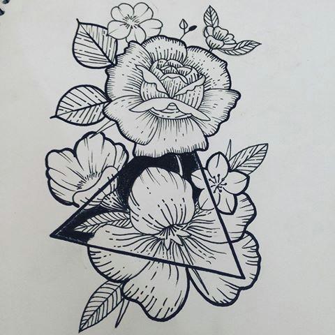 flower tattoo triangle szukaj w google