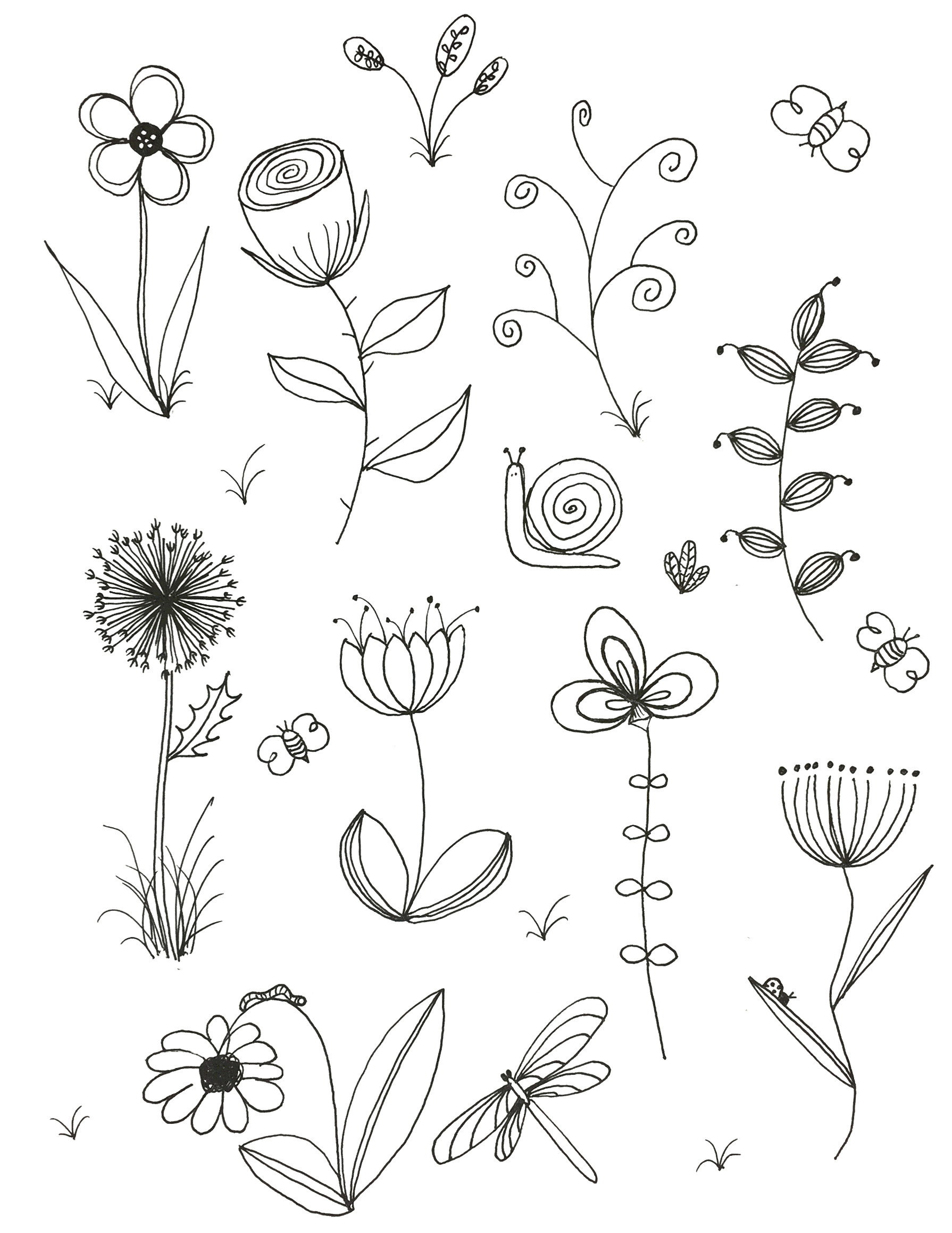 easy to draw spring pictures my original art inspired by many doodle flower line drawing of