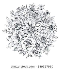 floral composition bouquet with hand drawn spring flowers and plants monochrome vector illustration in sketch style