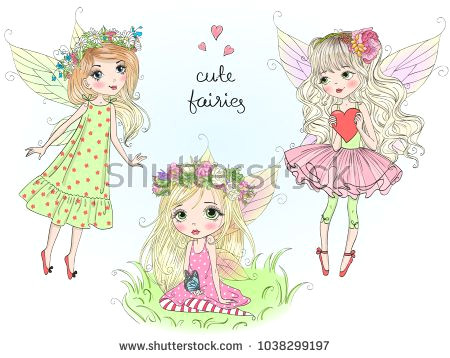 three hand drawn beautiful cute little fairies girls with butterfly wings vector illustration