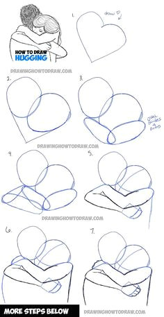 how to draw two people hugging drawing hugs step by step drawing tutorial