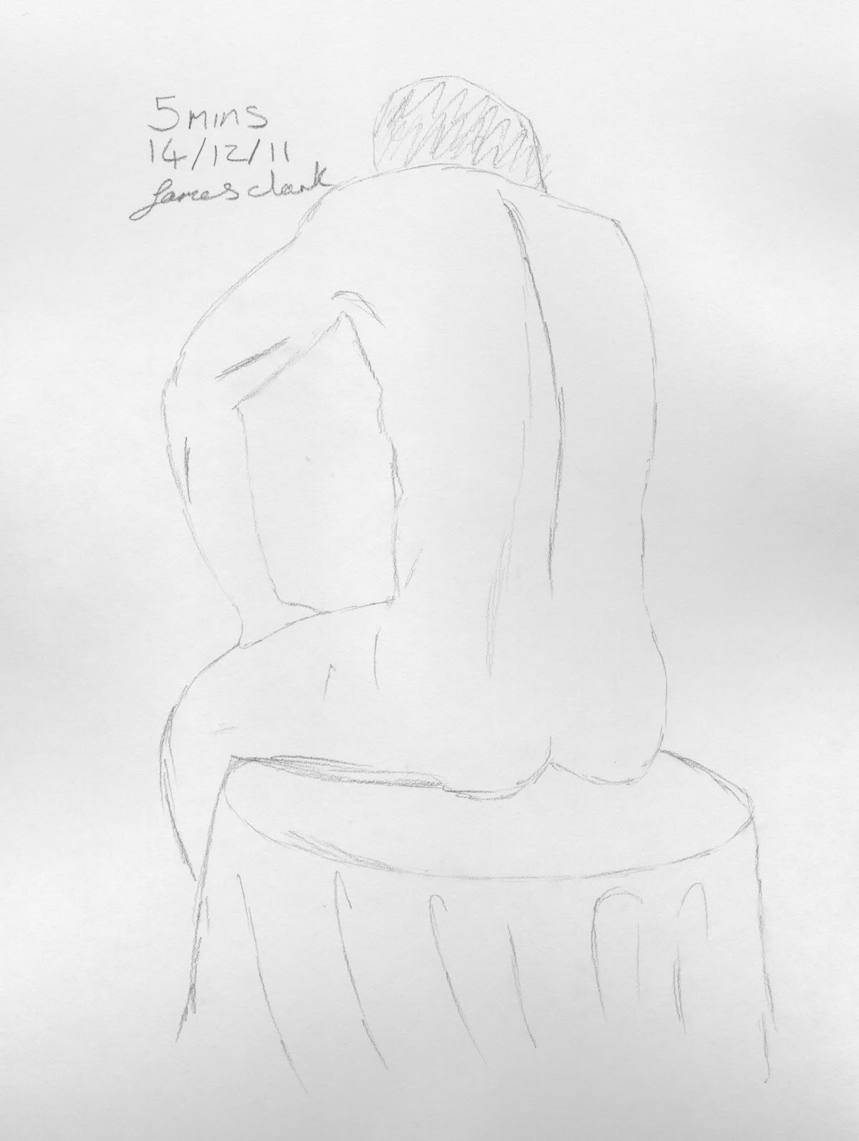 here in the second 5 minute sketch we have another seated position but somewhat different from the first as our model is now sporting a pose that suggests a