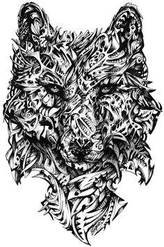 hunter abstract illustrative interpretation of the grey wolf black felt tip pen