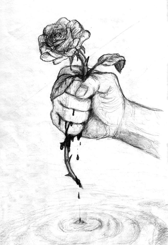 dessin noir et blanc facile dessin triste pour debutant art main et rose avec cuisse noir et blanc main et sang