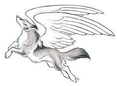 mystical fantasy leaping wolf drawing with wings tattoo cool wolf drawings cute animal drawings