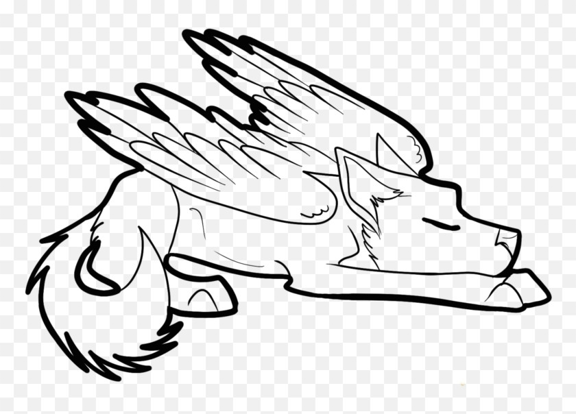winged cat drawing at getdrawings com free for personal winged wolf anime coloring page