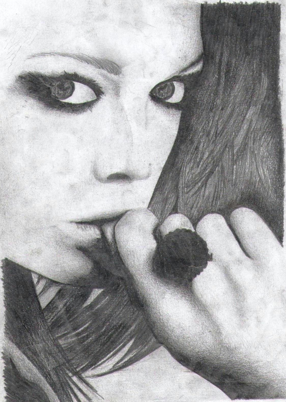 pencil drawing pencil blackandwhite woman face hair hands eyes beautiful