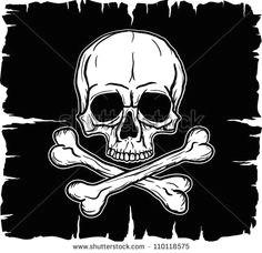 skull and crossbones over black flag vector illustration freehand drawing flag vector