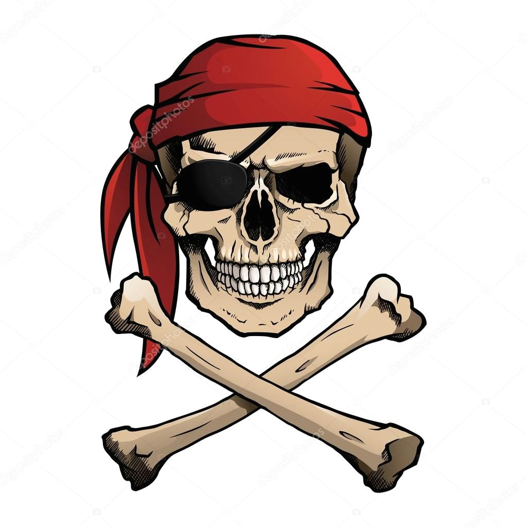 pirate skull and crossbones also known as jolly roger wearing a bandana