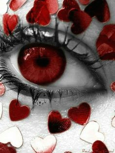 red eye with red hearts art