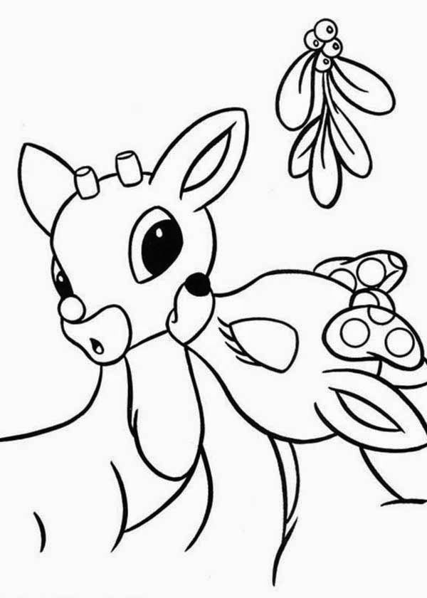 rudolph under mistletoe reindeer coloring pages