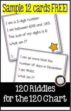 100 riddles for the hundred chart 3rd grade free sample